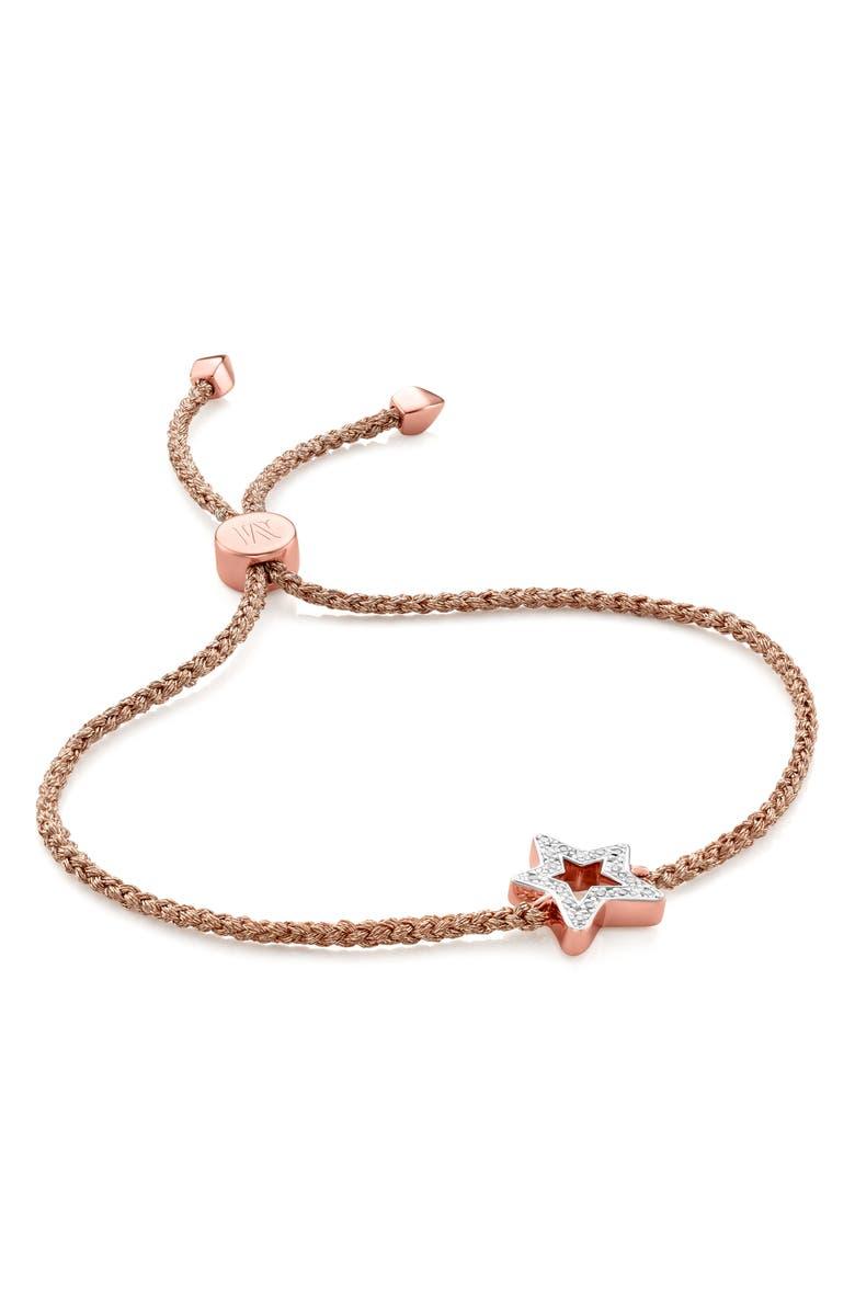 MONICA VINADER Alphabet Star Diamond Friendship Bracelet, Main, color, ROSE GOLD/ DIAMOND