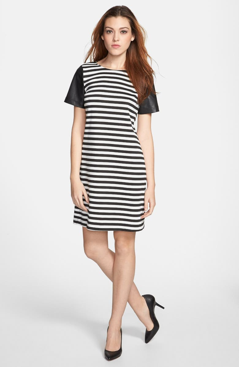 SUNDAY IN BROOKLYN Faux Leather Sleeve Shift Dress, Main, color, 001