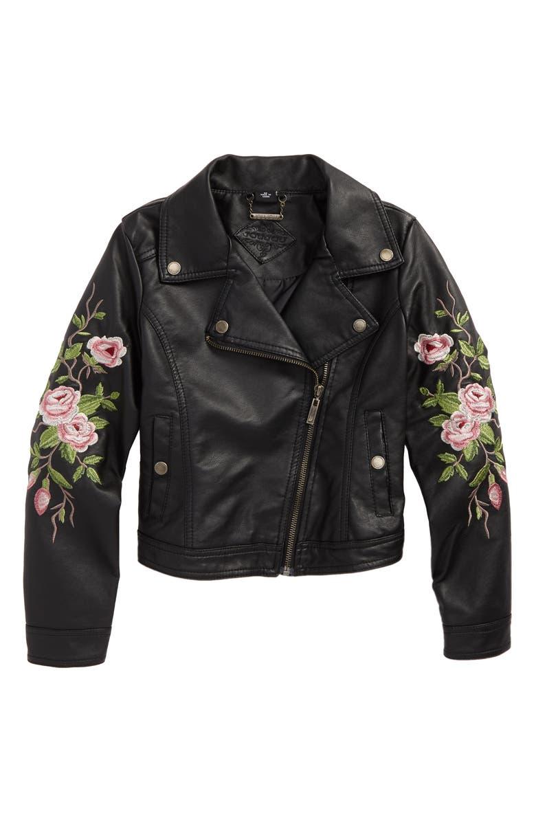 JOU JOU Embroidered Faux Leather Moto Jacket, Main, color, 001