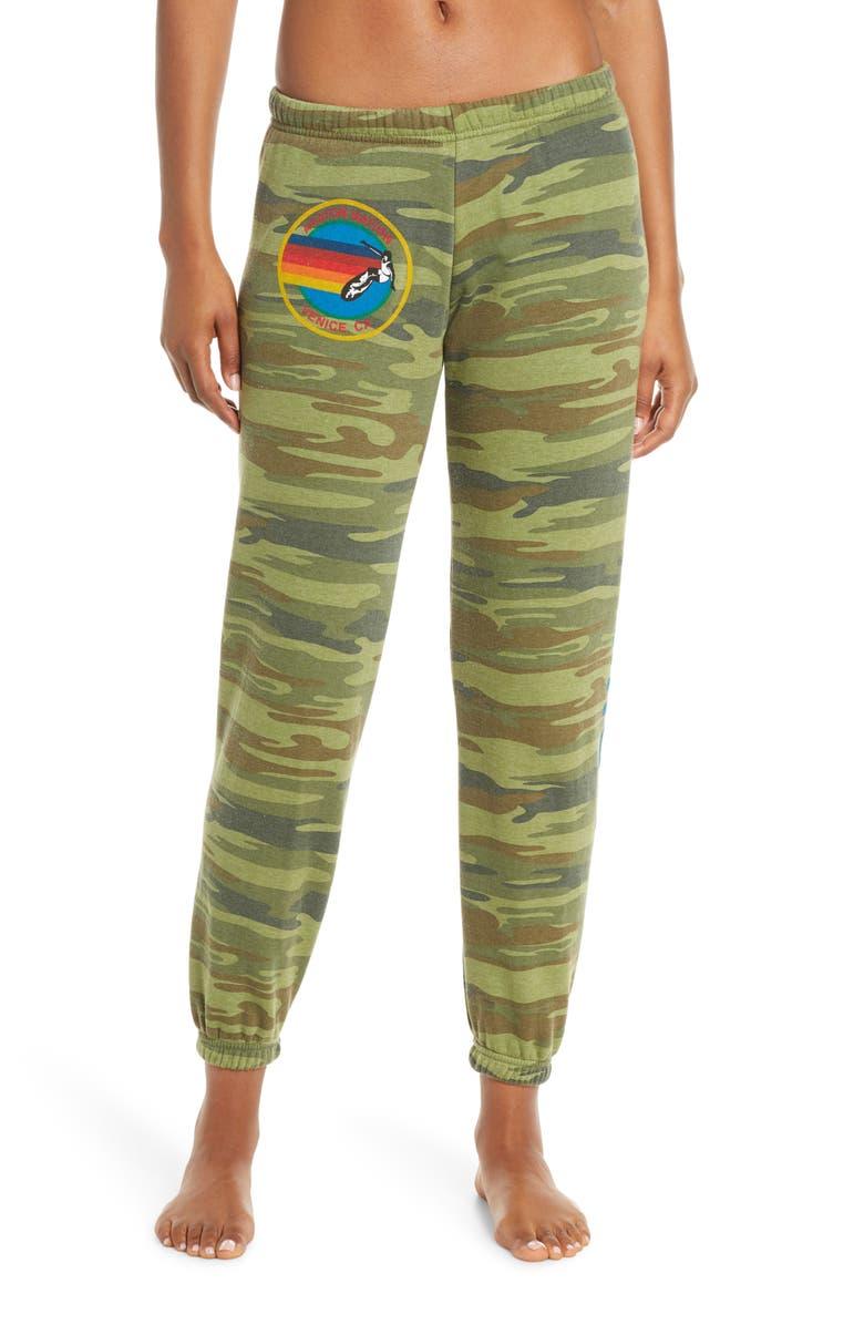 AVIATOR NATION Rainbow Logo Sweatpants, Main, color, CAMO