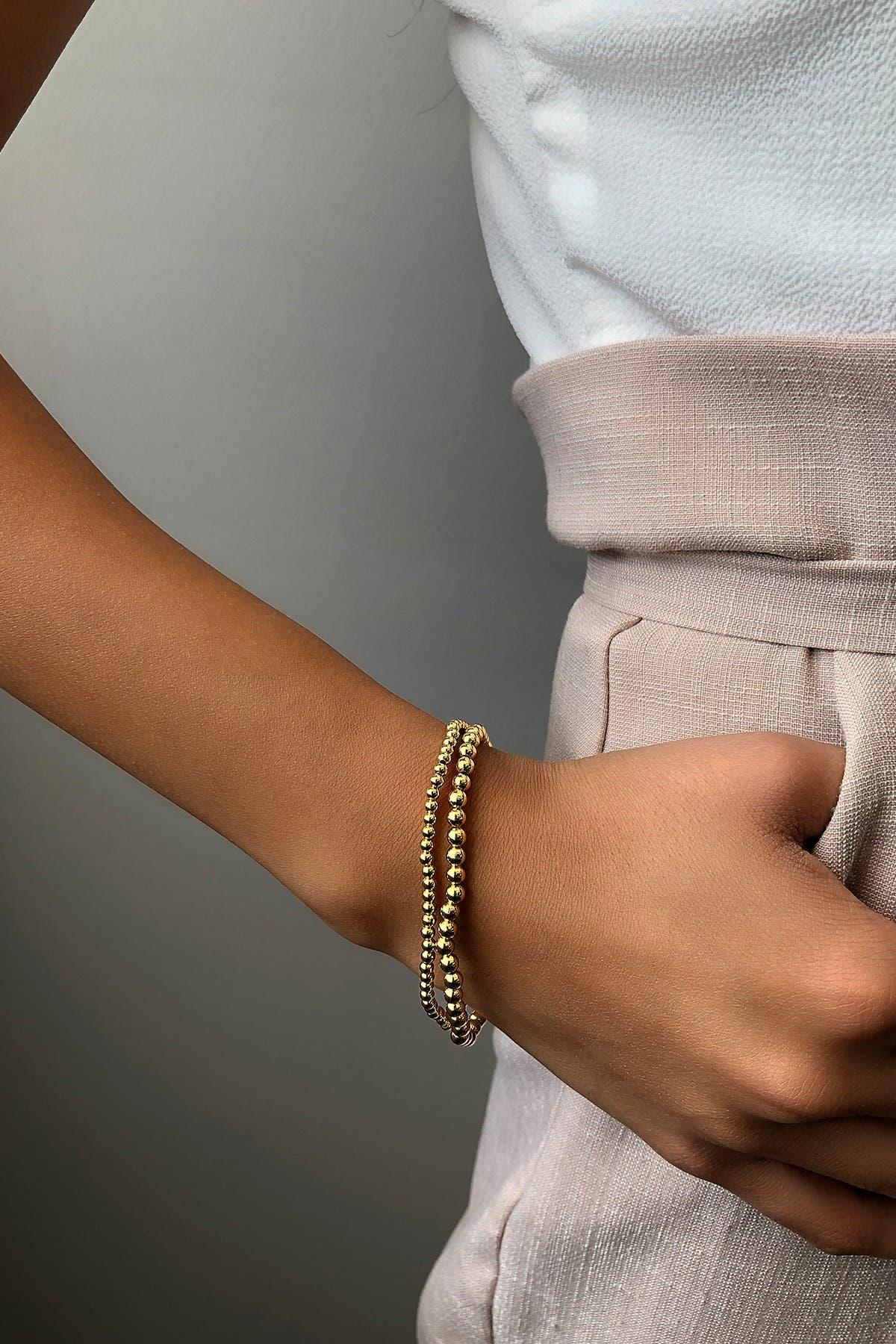 Sterling Forever 14K Gold Plated Beaded Stretch Bracelet Set