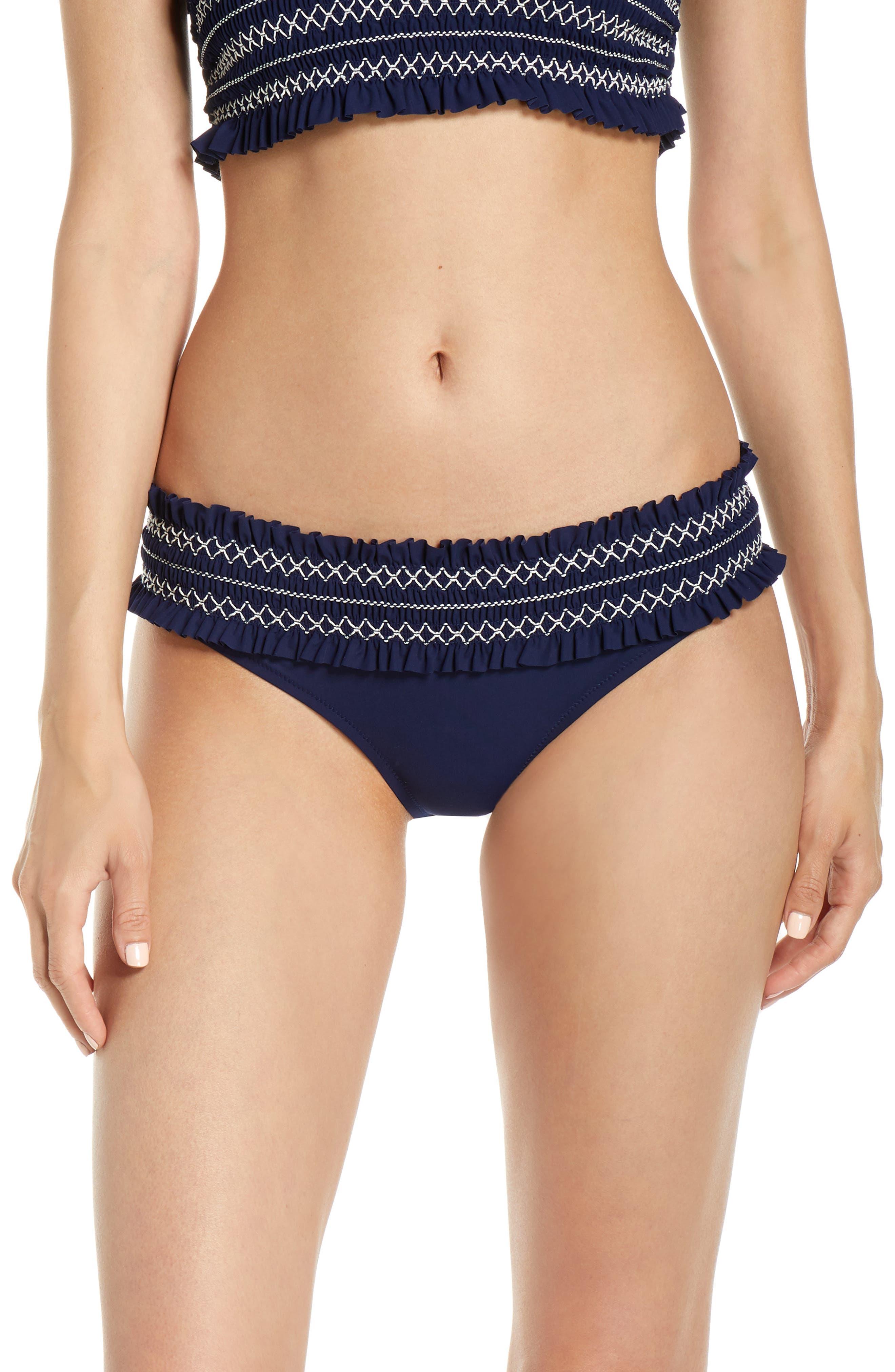 Tory Burch Costa Smocked Hipster Bikini Bottoms, Blue