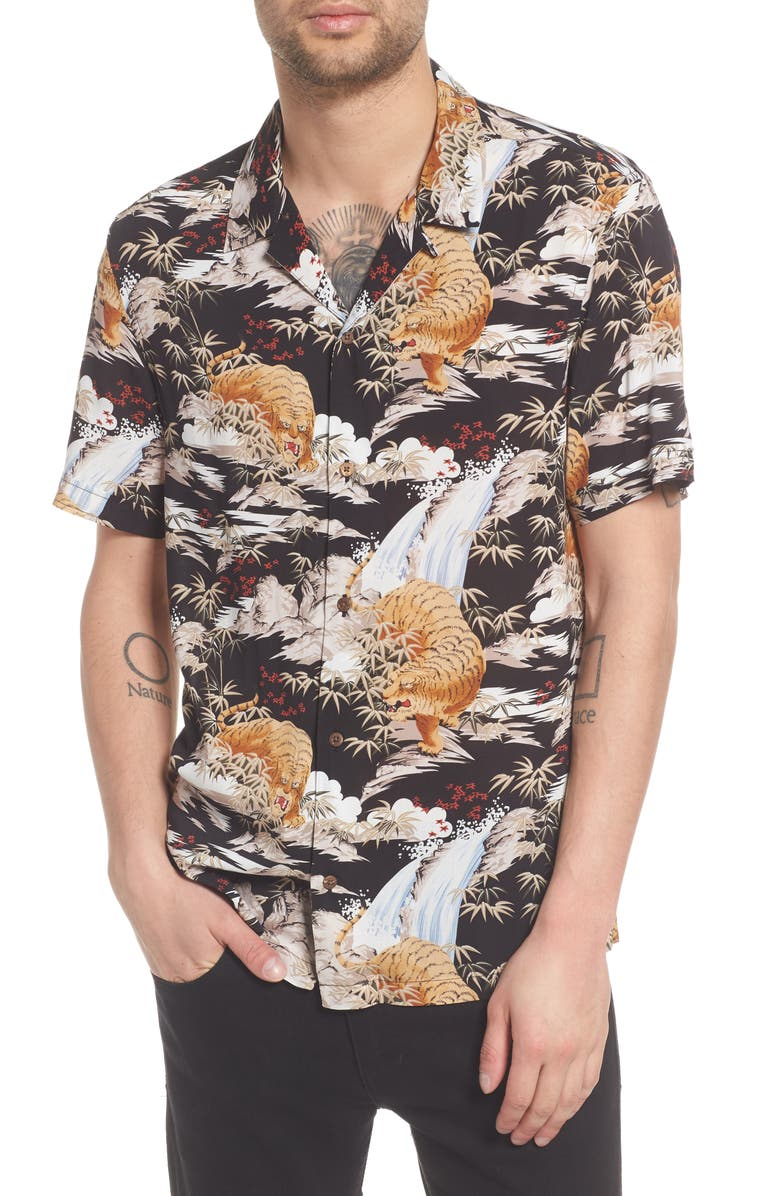 ALLSAINTS Sumatra Slim Fit Short Sleeve Shirt, Main, color, 001