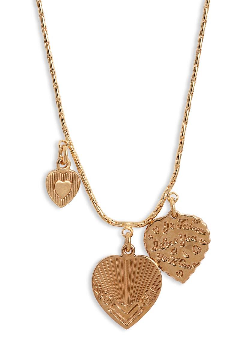 GAS BIJOUX Mini Love Charm Necklace, Main, color, GOLD