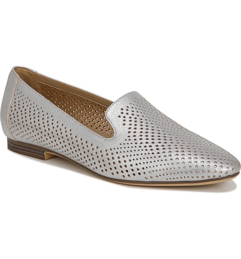 NATURALIZER Lorna Collapsible Heel Loafer, Main, color, SILVER LEATHER