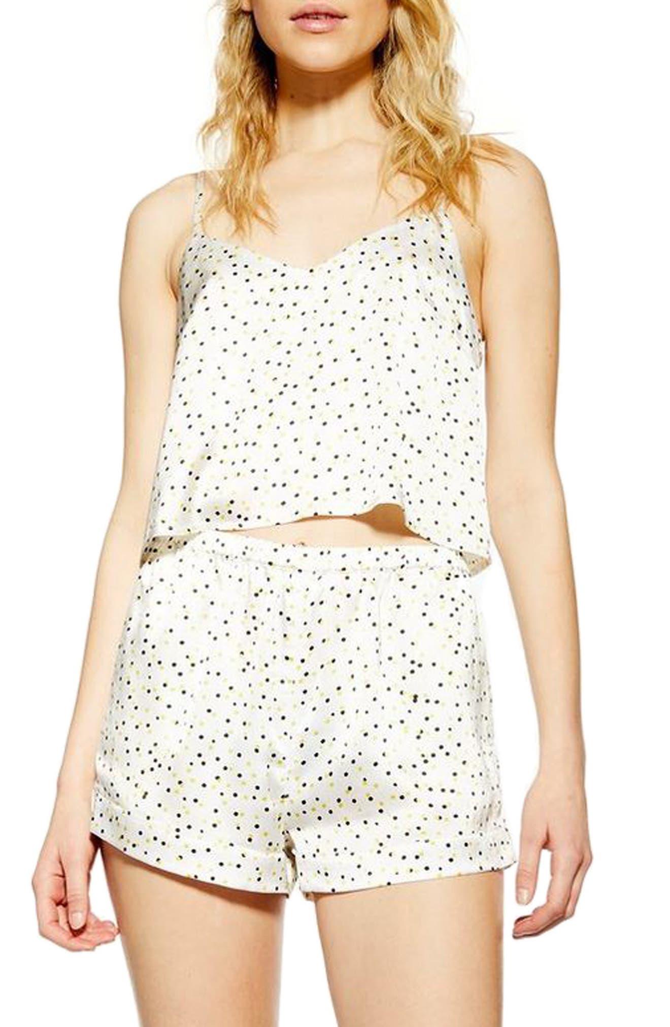 Topshop Leopard Spot Short Pajamas, White