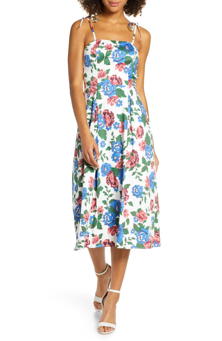 CHARLES HENRY Floral Print Tie Strap Midi Sundress, Main, color, BLUE-RED FLORAL