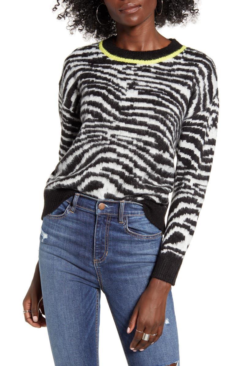 LOVE BY DESIGN Zebra Stripe Sweater, Main, color, BLACK