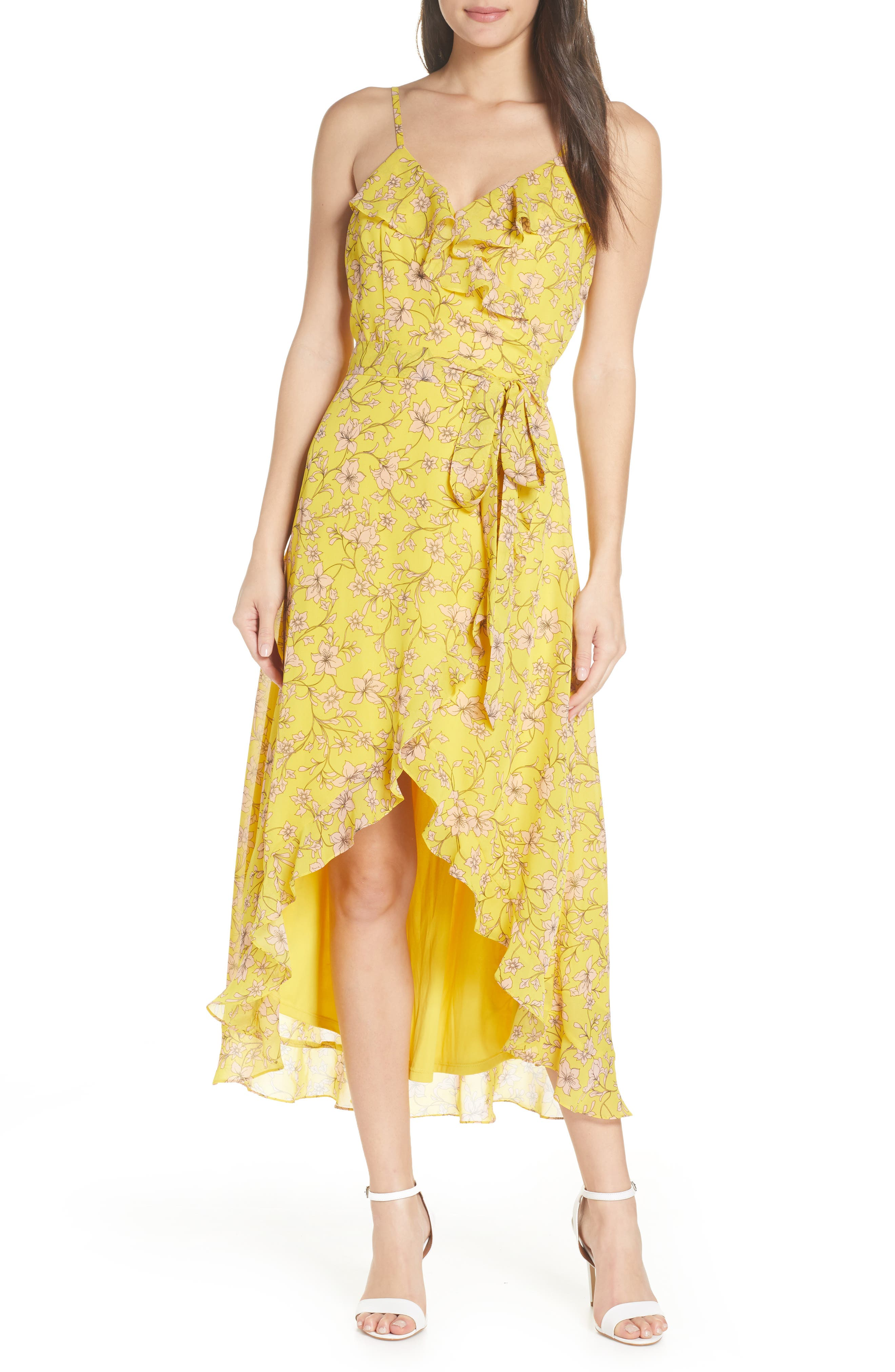 Avec Les Filles Floral High/low Wrap Midi Dress, Yellow