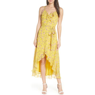 Avec Les Filles Floral High/low Wrap Midi Dress, Yellow