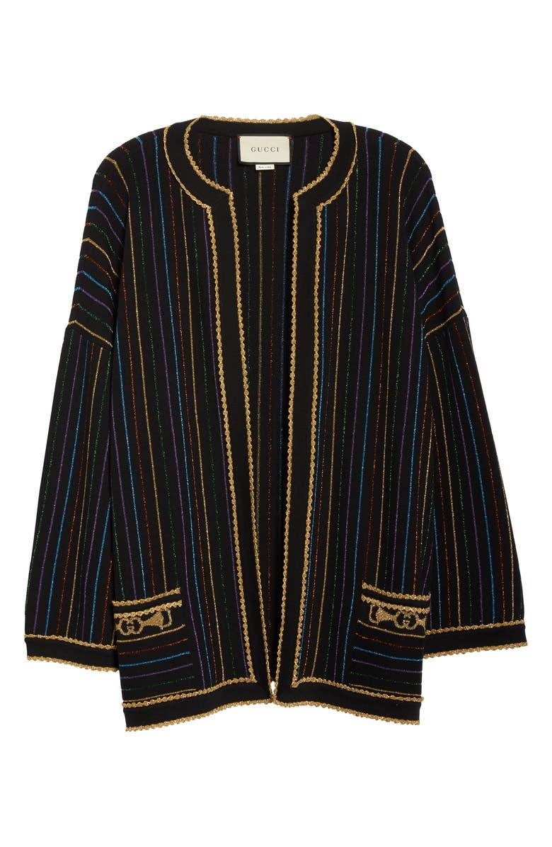 GUCCI Metallic Stripe Wool Sweater Jacket, Main, color, BLACK/ MULTICOLOR