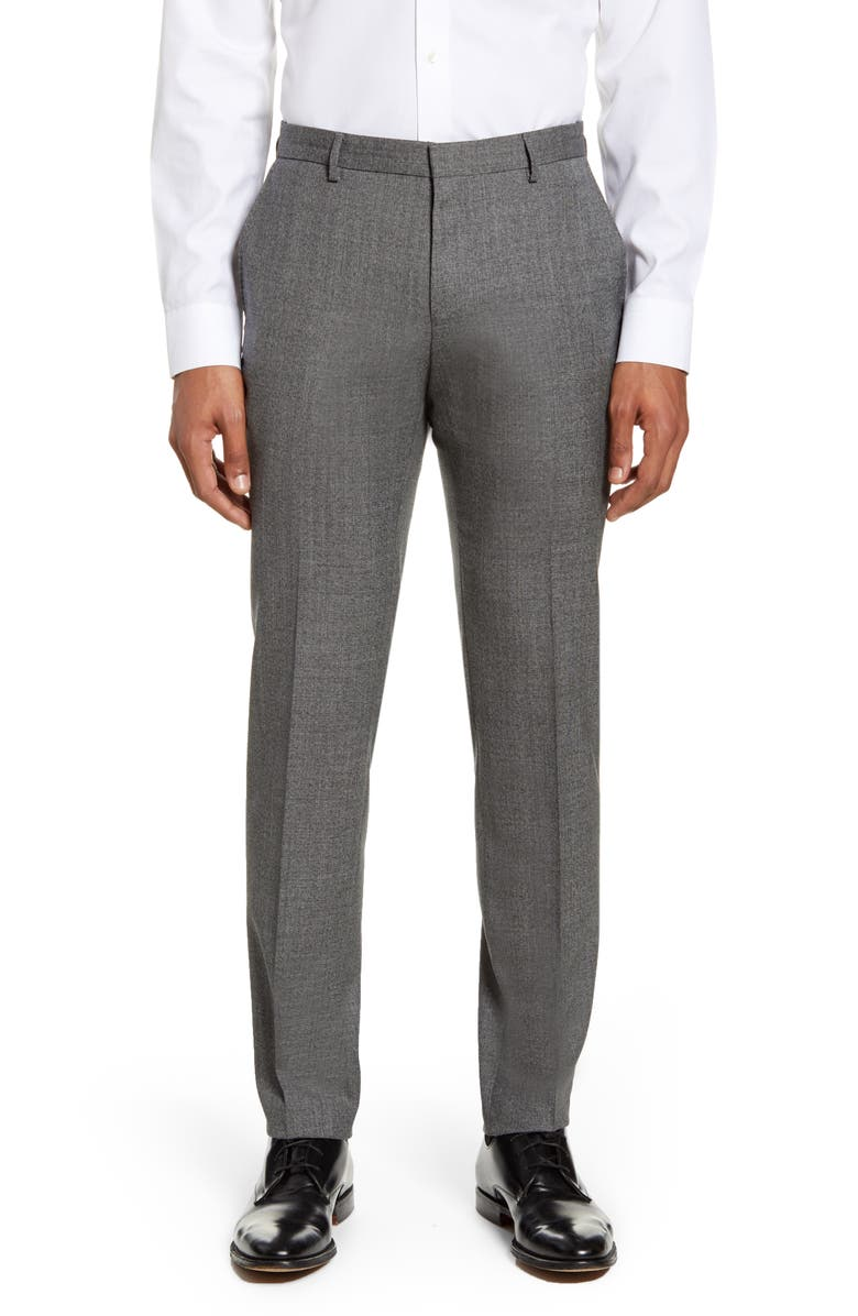 BOSS Ben Flat Front Solid Wool Dress Pants, Main, color, MEDIUM GREY STATIC SOLID