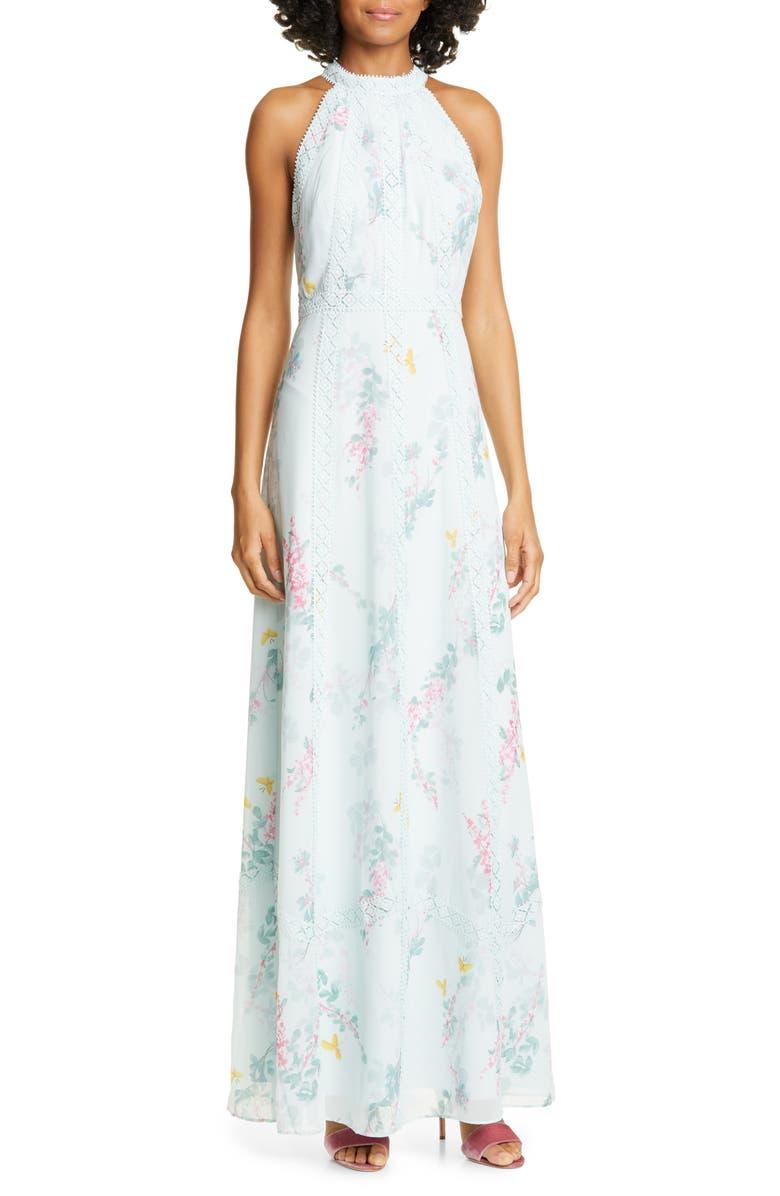 TED BAKER LONDON Dahleen Sorbet Lace Trim Halter Maxi Dress, Main, color, 332