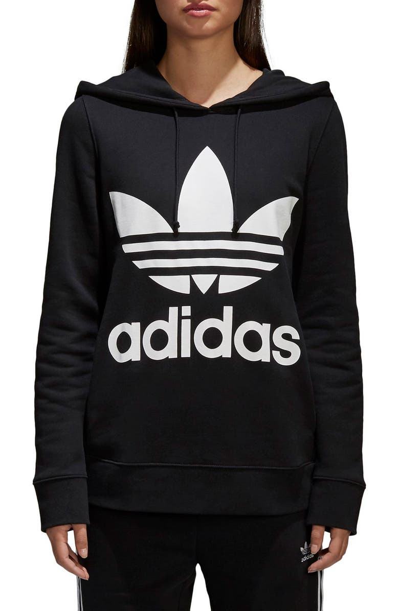 ADIDAS ORIGINALS Trefoil Hoodie, Main, color, BLACK
