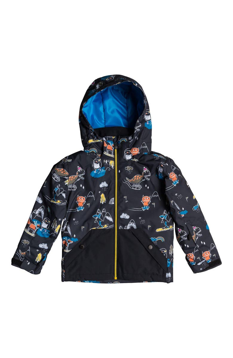 QUIKSILVER Little Mission Waterproof Hooded Jacket, Main, color, BLACK SNOW PARTY