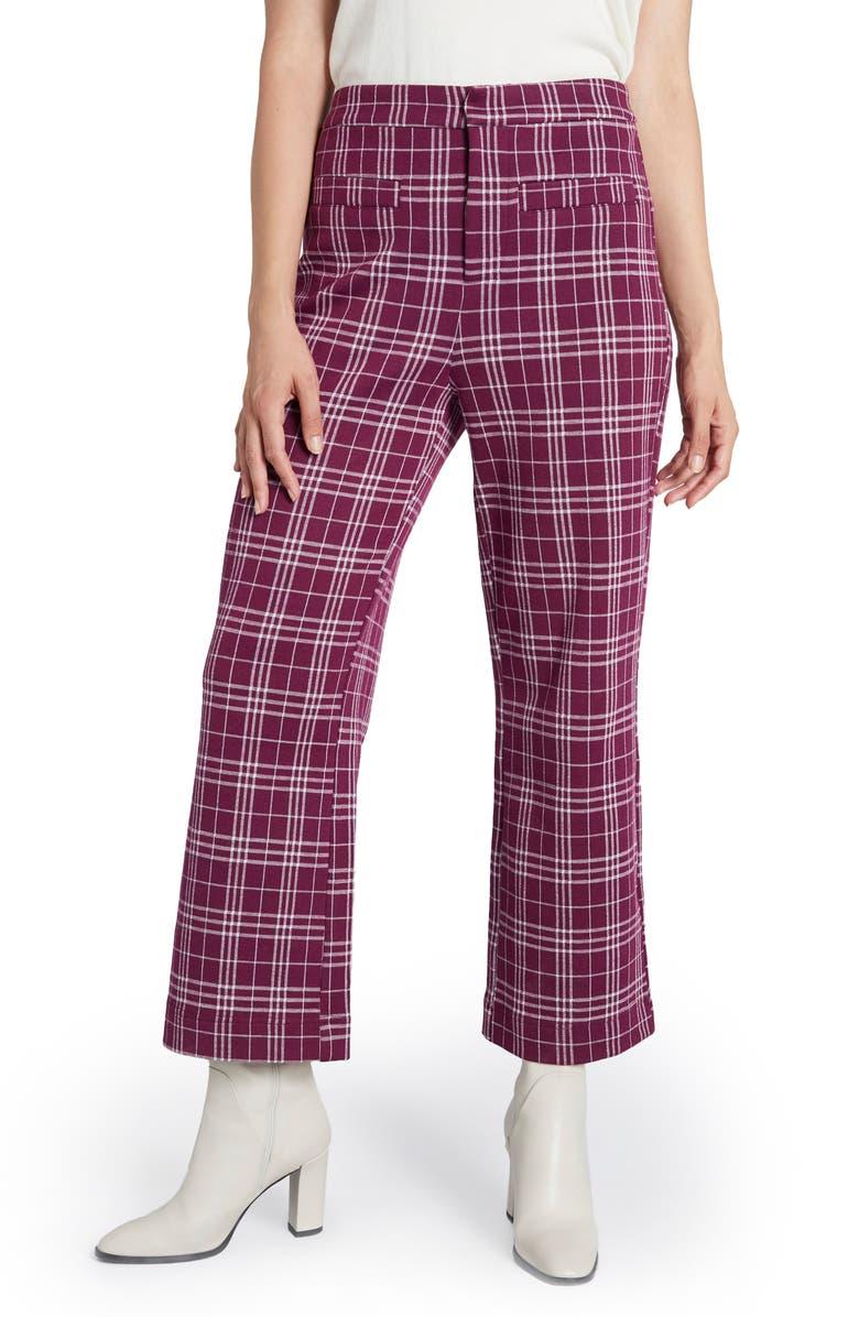 MODCLOTH Plaid Crop Knit Pants, Main, color, PURPLE PLAID