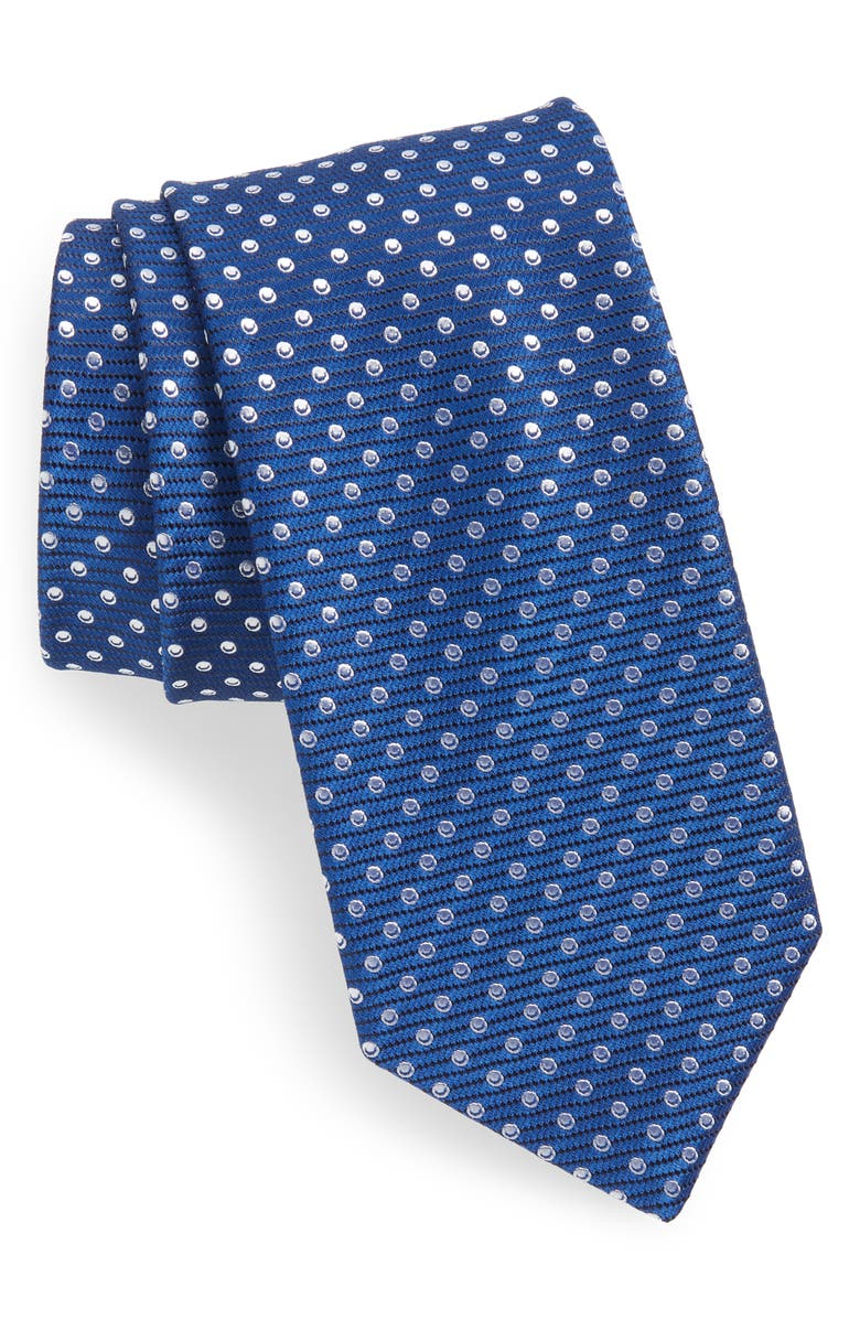 BOSS Circle Medallion Tie, Main, color, BLUE