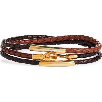 Caputo & Co. Braided Leather Wrap Bracelet