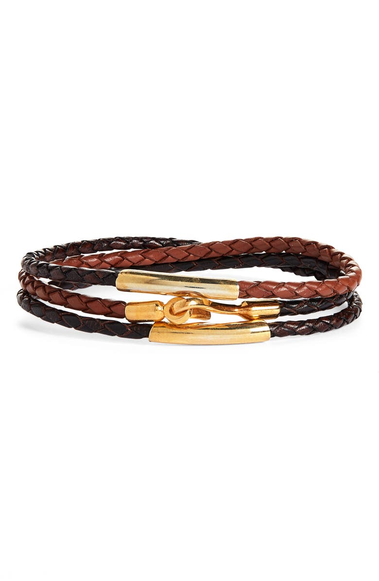 CAPUTO & CO. Braided Leather Wrap Bracelet, Main, color, BROWN COMBO