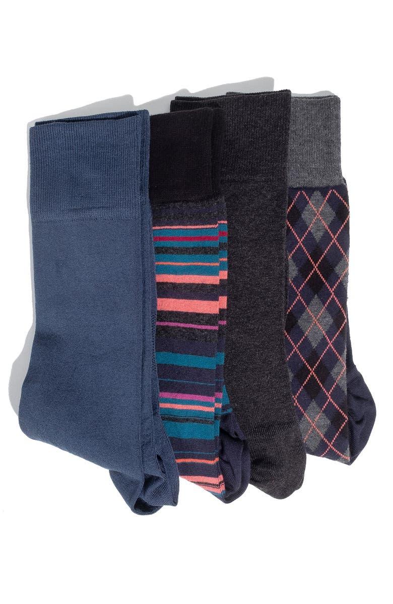 HOOK + ALBERT 4-Pack Socks, Main, color, 400