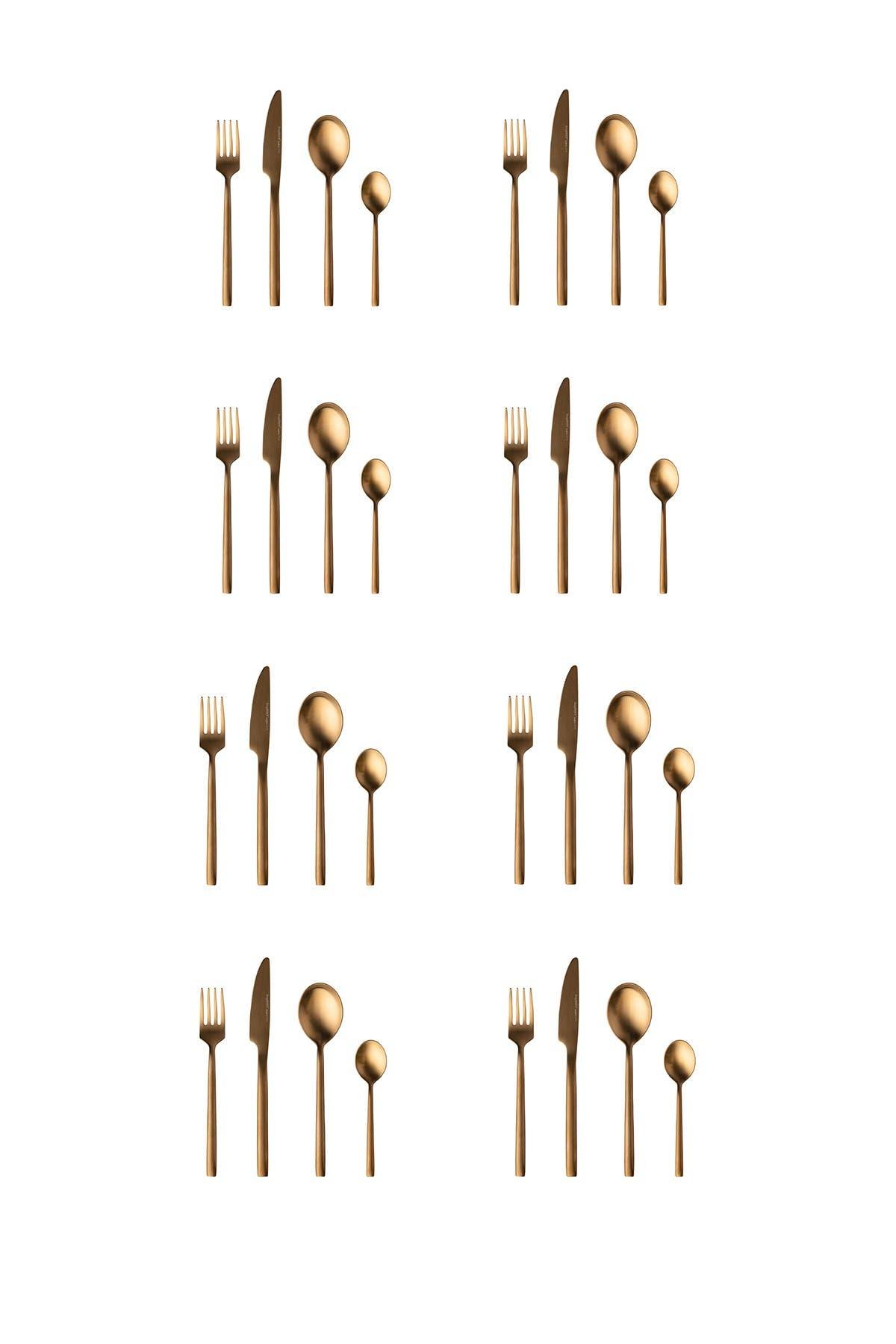 Image of BergHOFF Gem 32-Piece Gold Plated Flatware Set