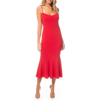 Katie May Twirl Sleeveless Drape Back Dress, Red