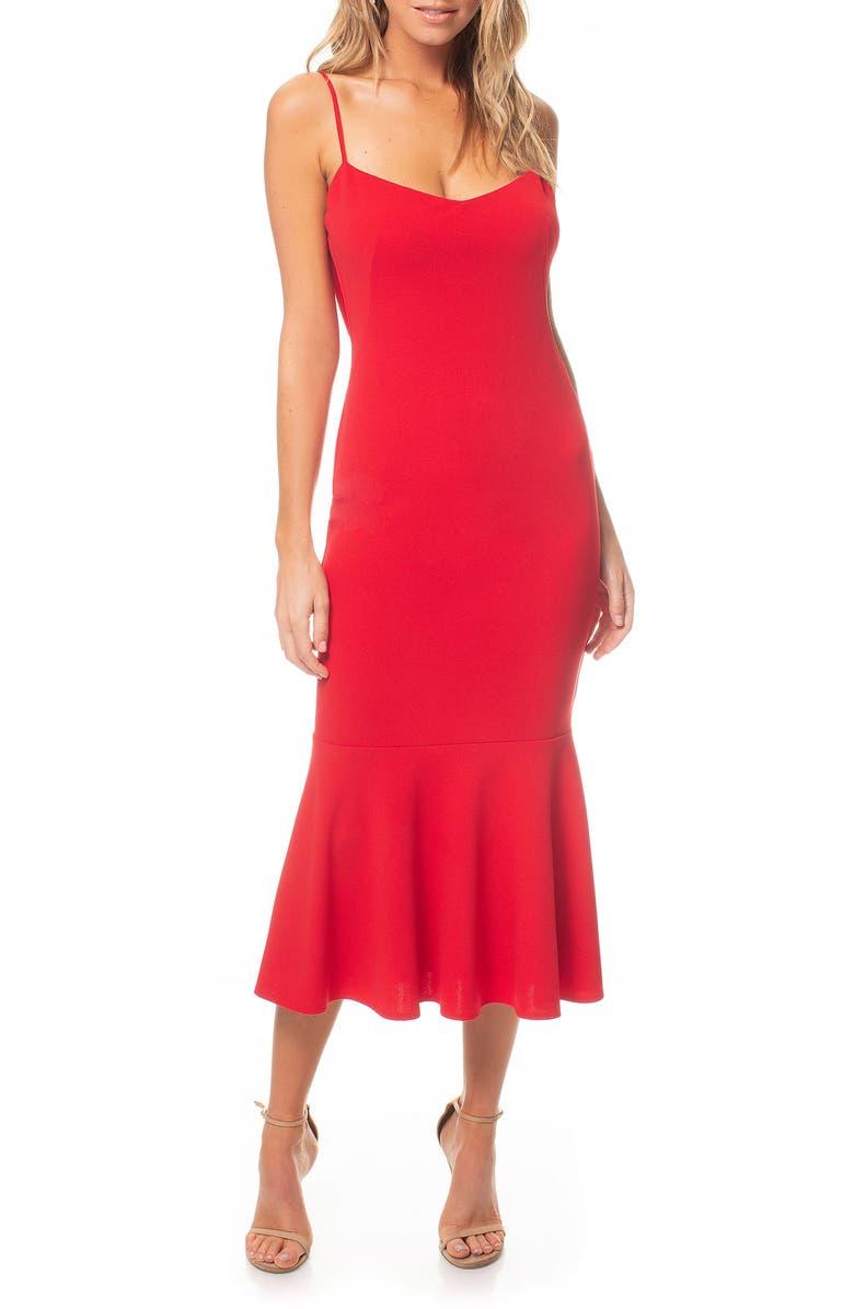 KATIE MAY Twirl Sleeveless Drape Back Dress, Main, color, RED