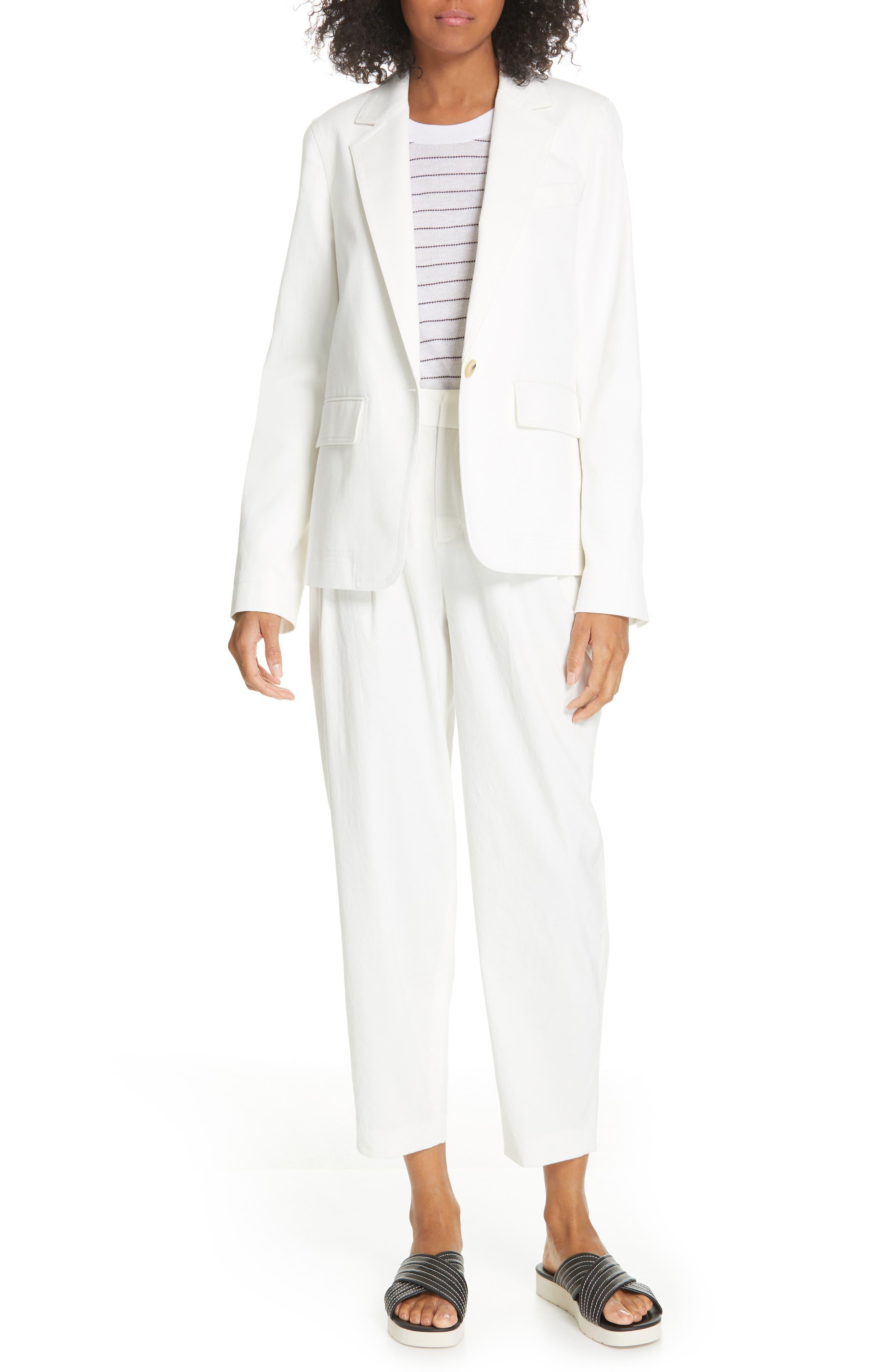 ,                             Cotton & Linen Blend Jacket,                             Alternate thumbnail 8, color,                             OFF WHITE