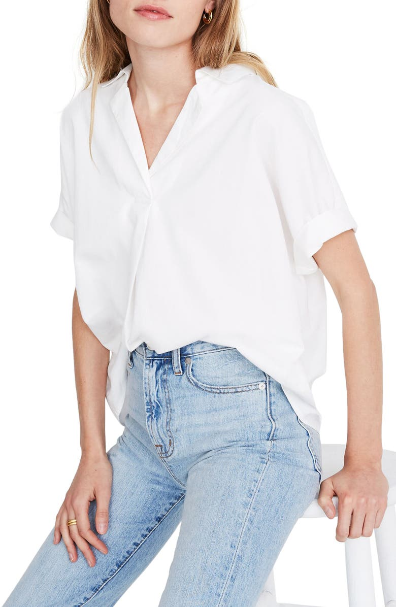 MADEWELL Band Sleeve Popover Shirt, Main, color, EYELET WHITE