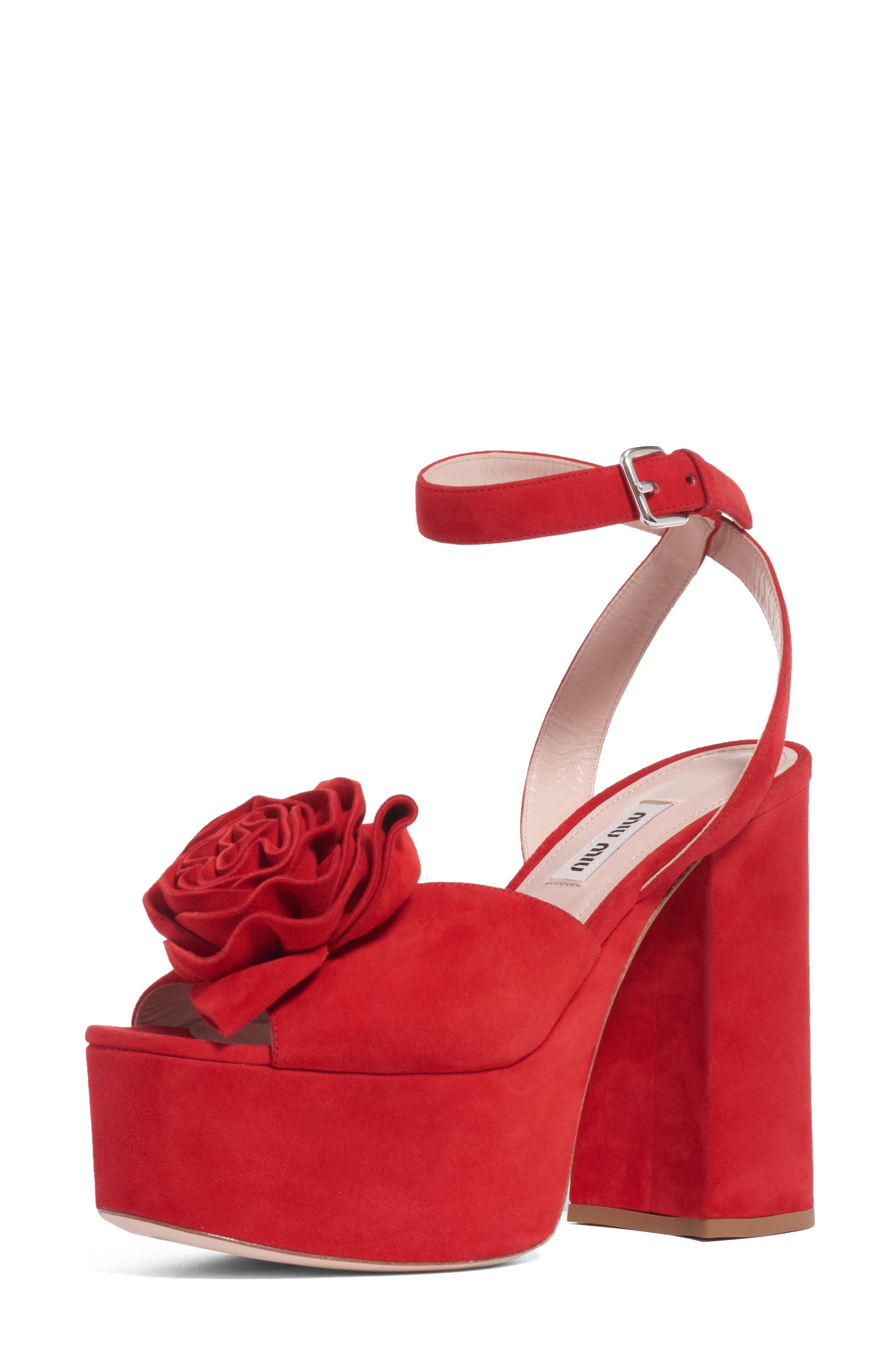 Miu Miu Slippers Flower Platform Sandal