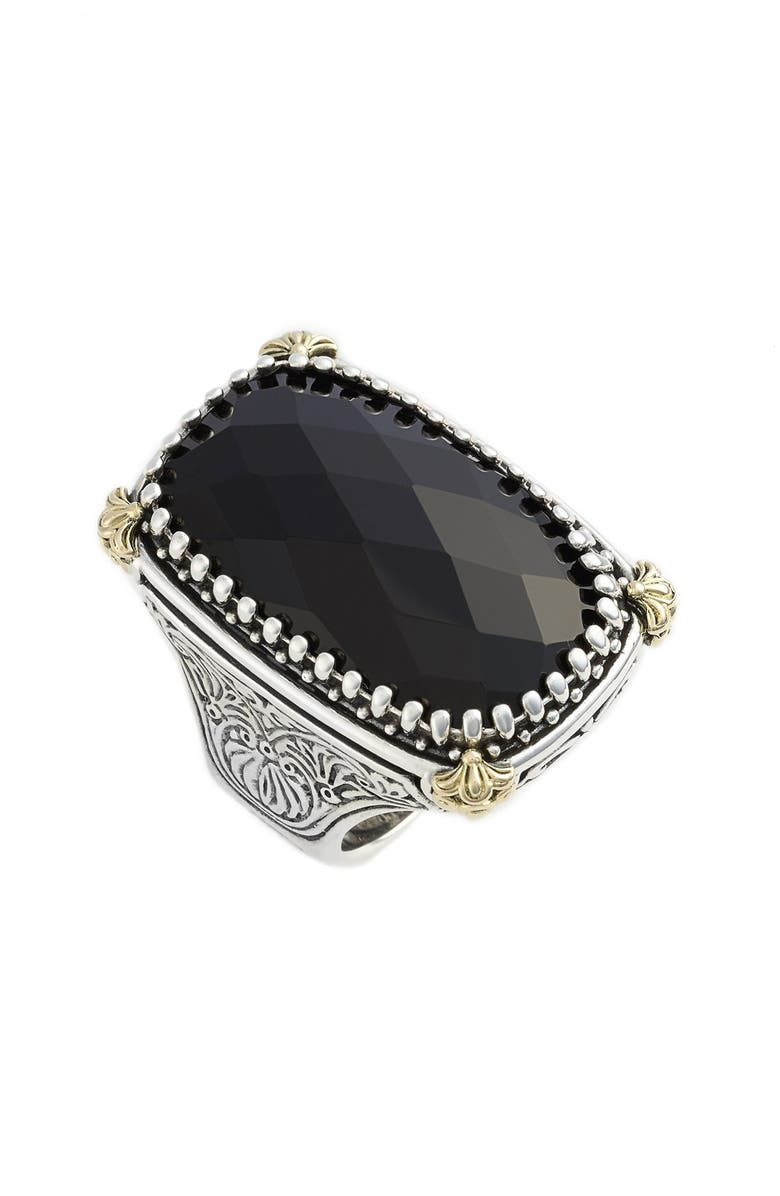 KONSTANTINO 'Nykta' Black Onyx Ring, Main, color, SILVER/ GOLD/ BLACK ONYX