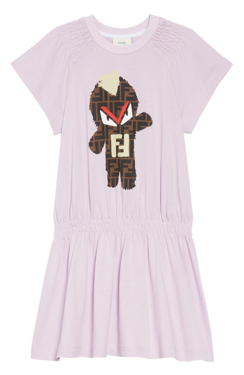 FENDI Monster Logo Graphic Dress, Main, color, 530