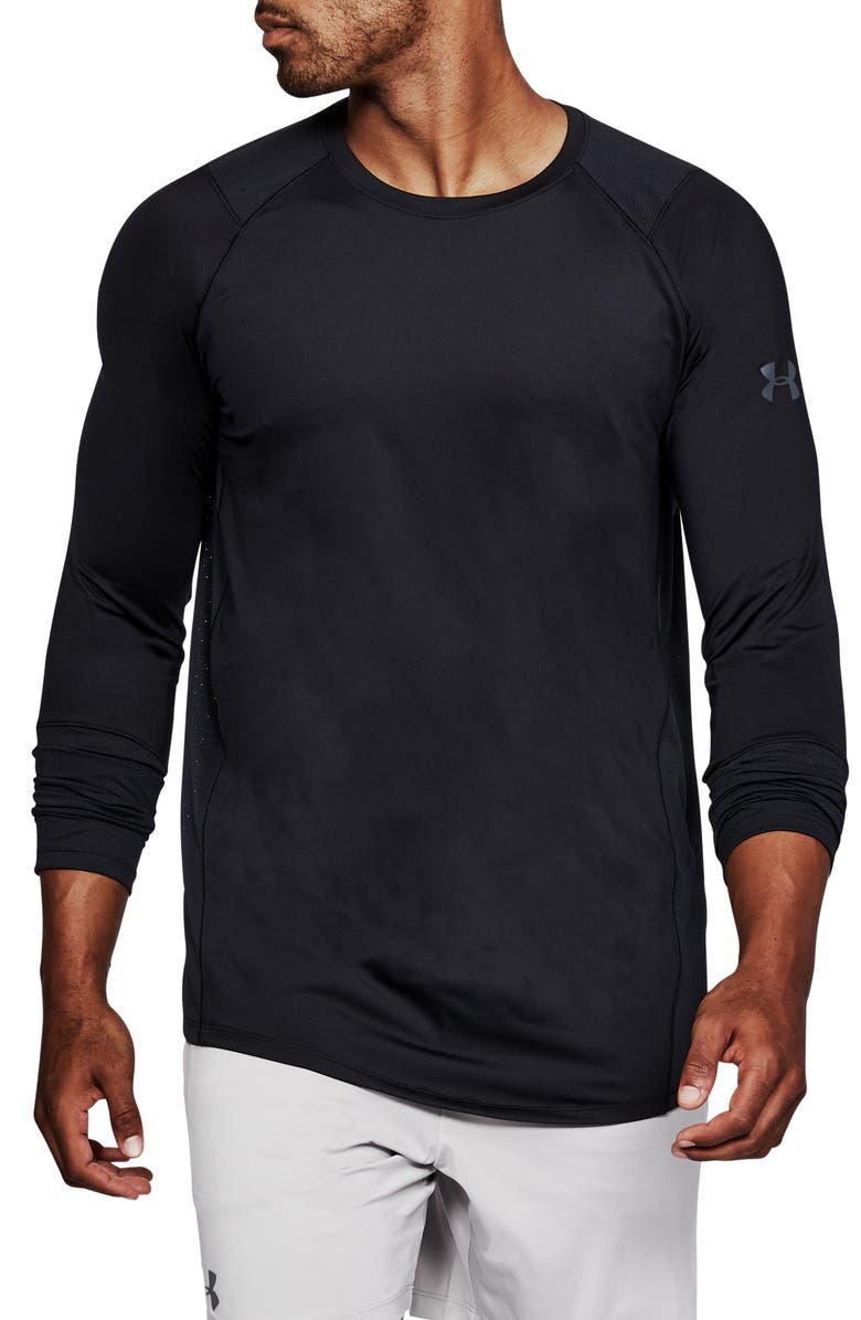UNDER ARMOUR HeatGear<sup>®</sup> MK-1 Long Sleeve Performance T-Shirt, Main, color, BLACK/ BLACK/ STEALTH GREY