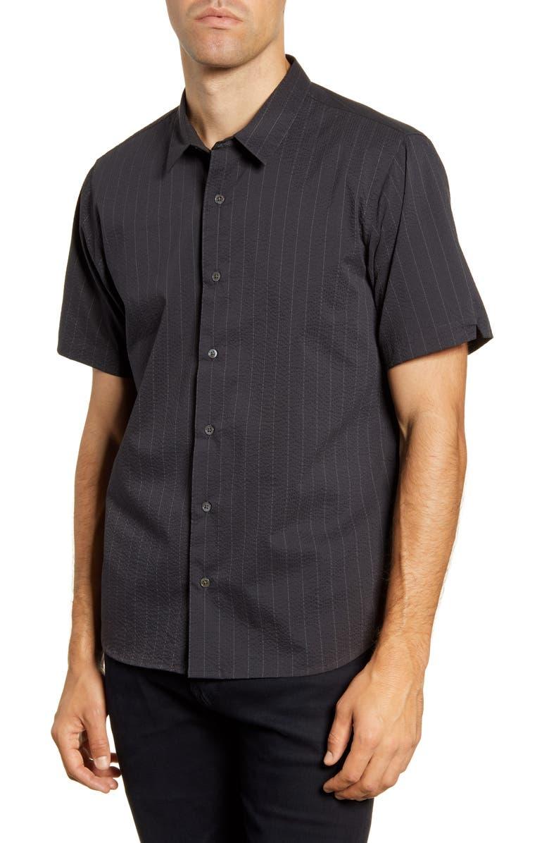 BLDWN Arellano Slim Fit Stripe Seersucker Short Sleeve Button-Up Sport Shirt, Main, color, 001