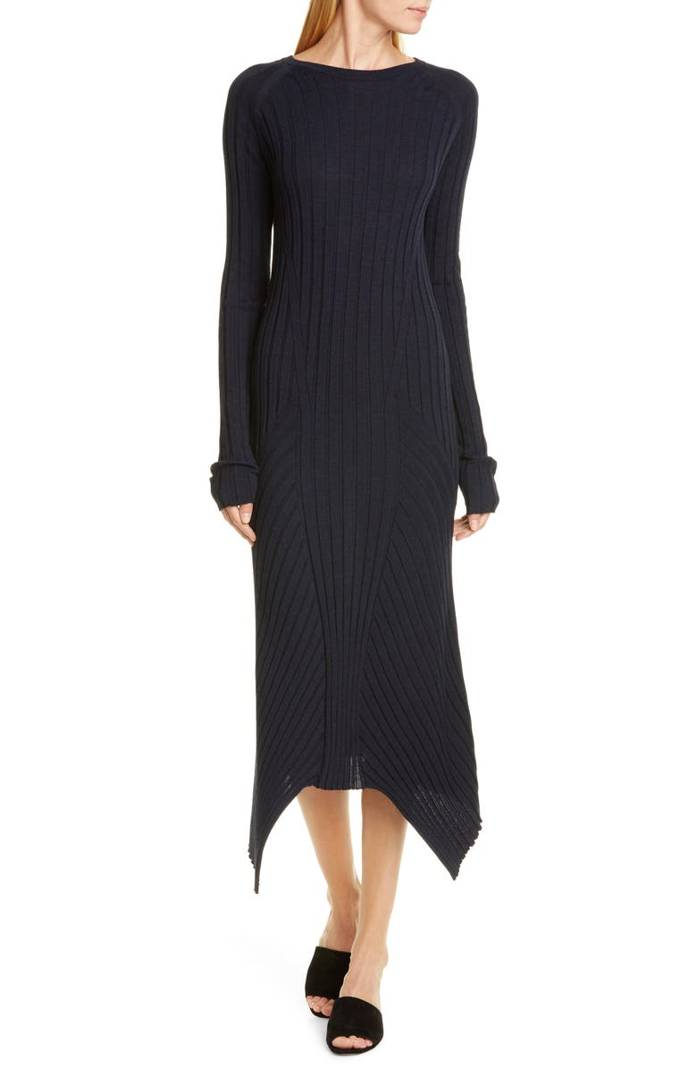 HELMUT LANG Long Sleeve Rib Wool Sweater Dress, Main, color, INK