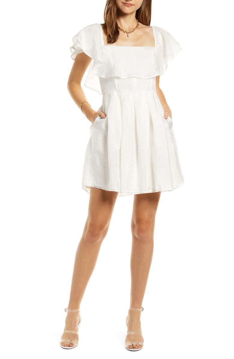 SOMETHING NAVY Convertible Ruffle Neck Fit & Flare Dress, Main, color, 900