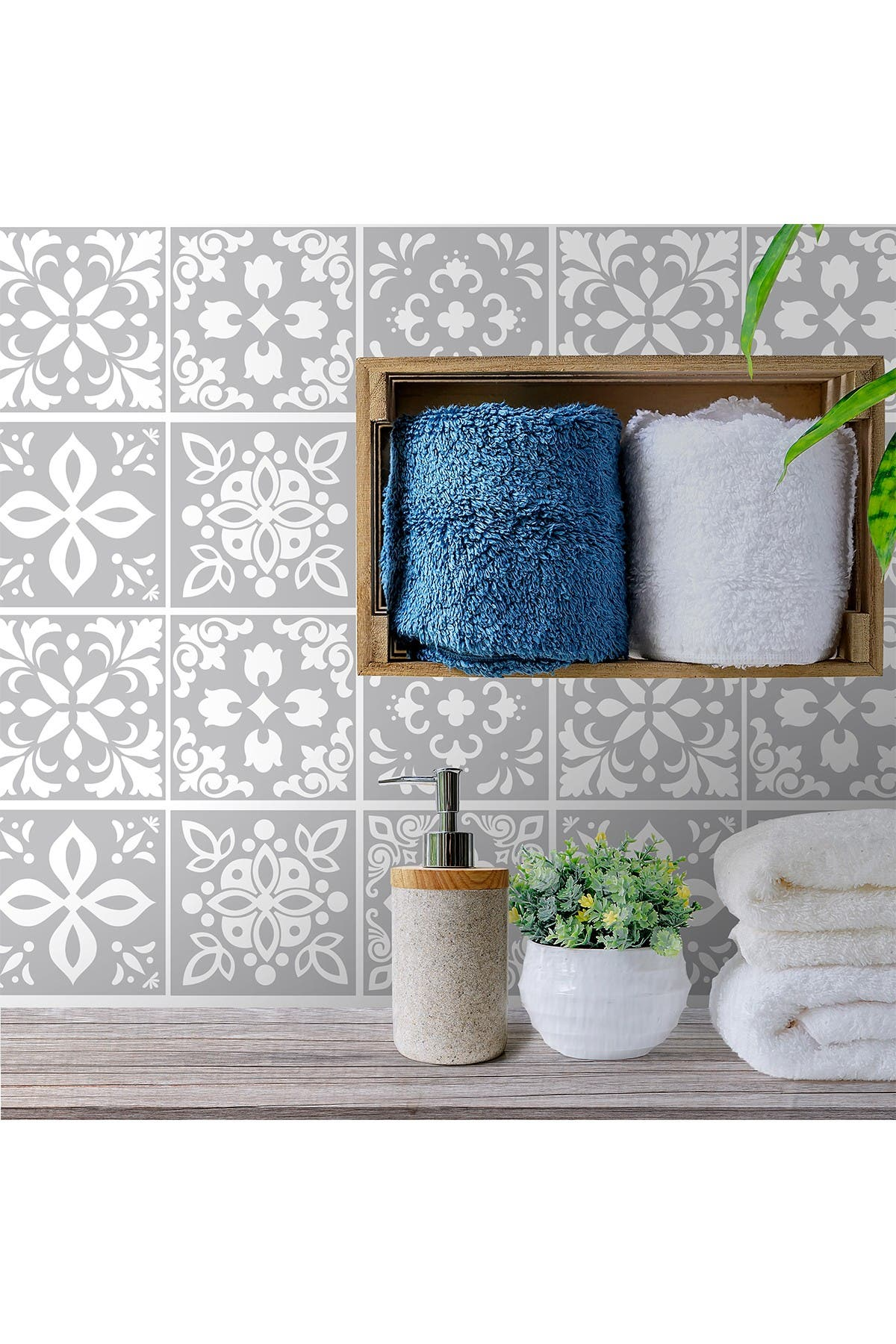 Image of WalPlus Andalu Light Grey Cement Spanish Wall Tile Sticker Set - 6 x 6 in - 24 Pieces