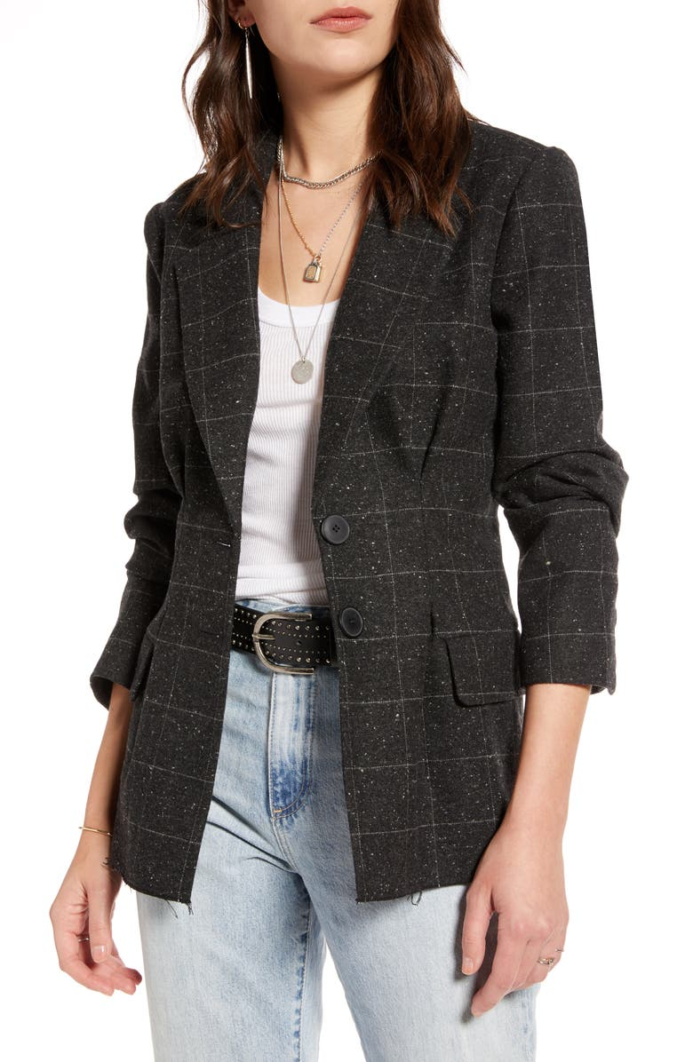 TREASURE & BOND Pleat Detail Menswear Blazer, Main, color, GREY DARK GRANITE CHECK