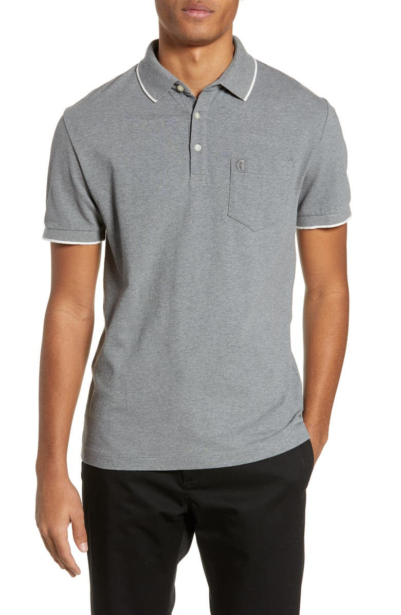 FRENCH CONNECTION Parched Piqué Polo, Main, color, MID GREY MEL WHITE