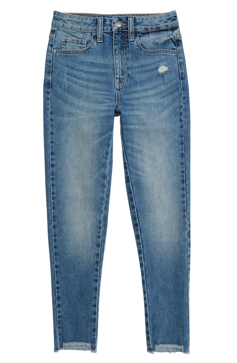 TREASURE & BOND Step Hem Skinny Jeans, Main, color, DARK VINTAGE WASH