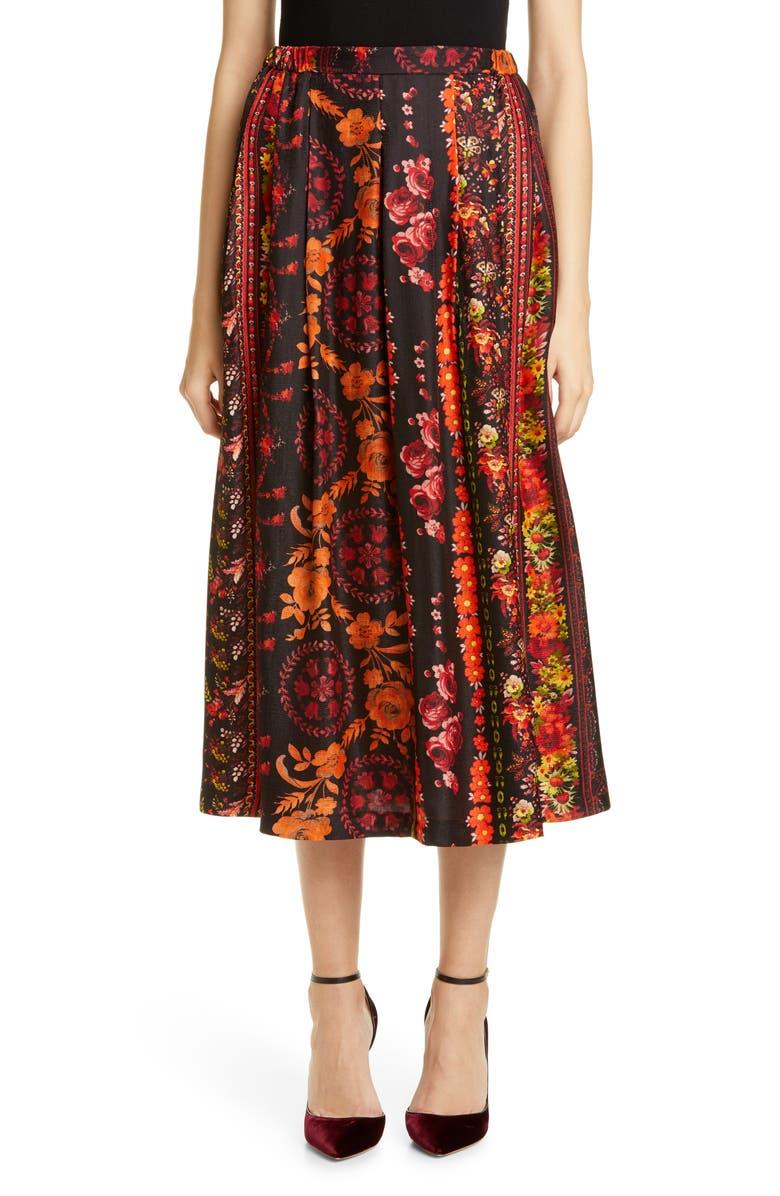 ROSEANNA Roseanne Mandarine Floral Pleated Midi Skirt, Main, color, MANDARINE