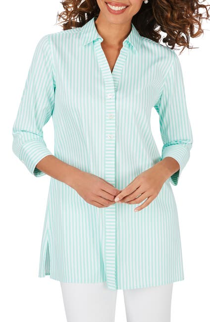 Image of FOXCROFT Pamela Stripe Non-Iron Cotton Blend Tunic Blouse