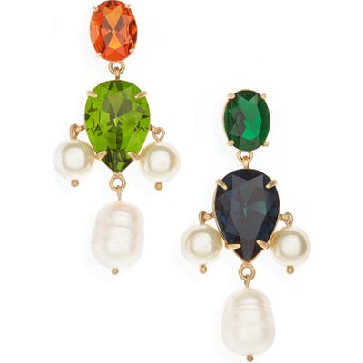 Tory Burch Cultured Pearl & Crystal Mismatched Drop Earrings