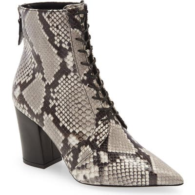 Self-Portrait Amelia Lace-Up Pointed Toe Bootie - Brown