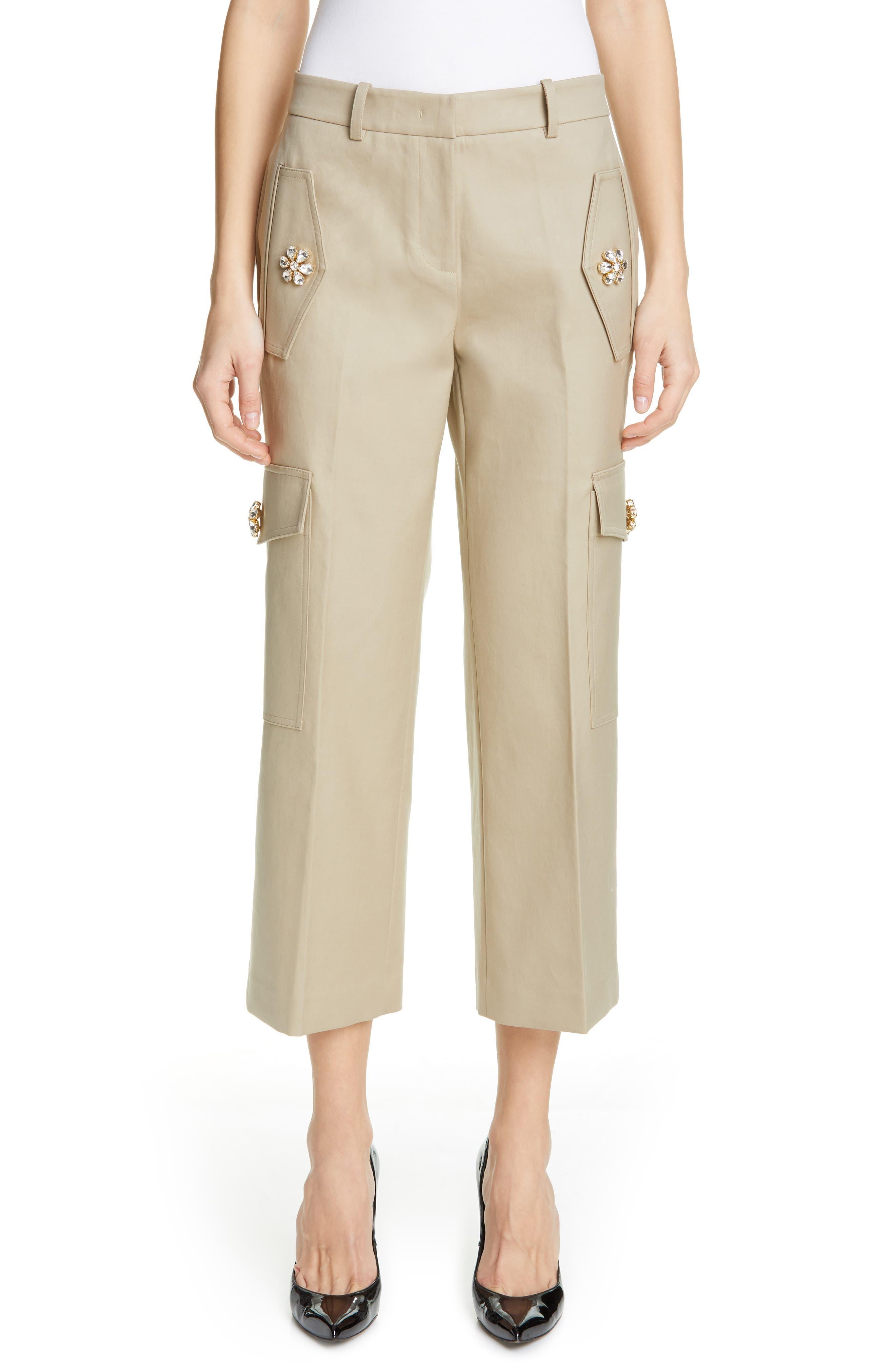 Embellished Crop Cargo Pants, Main, color, SAND