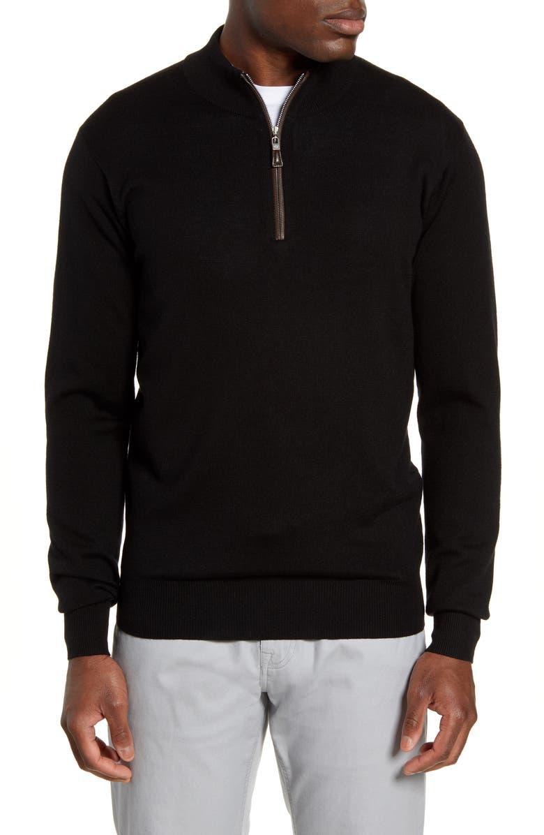 PETER MILLAR Crown Soft Wool Blend Quarter Zip Sweater, Main, color, BLACK