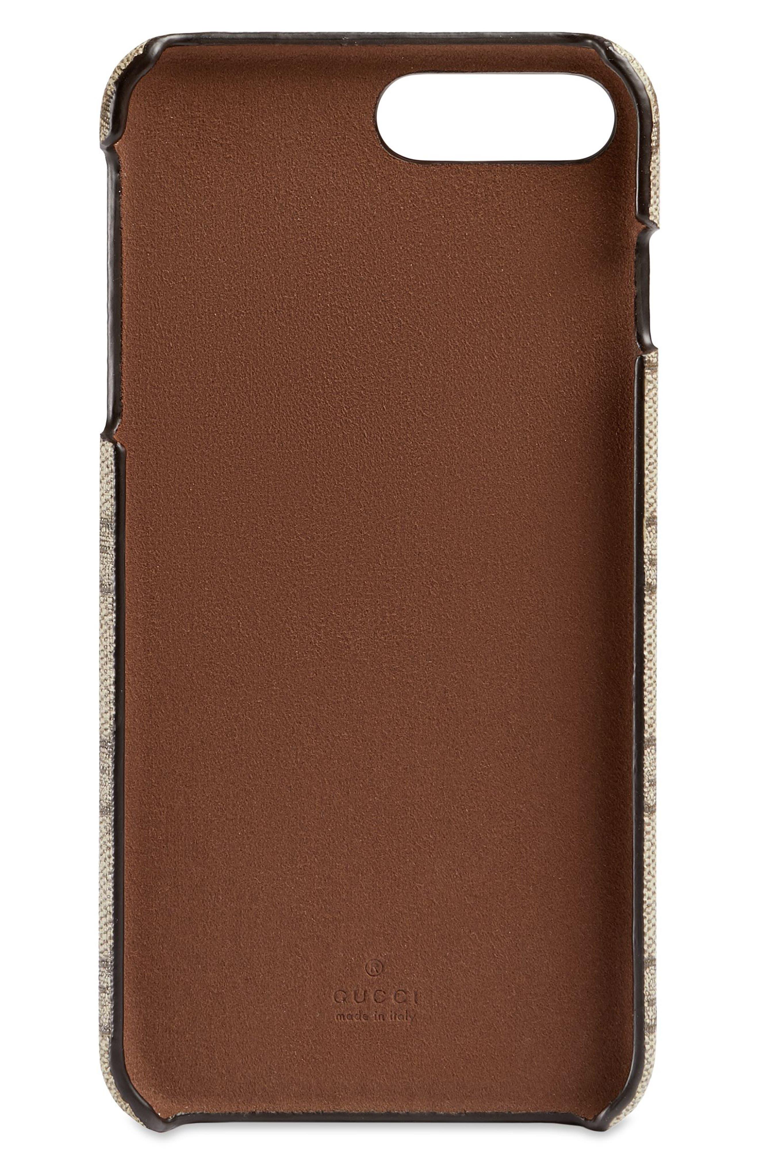 ,                             GG Supreme iPhone 8+ Case,                             Alternate thumbnail 2, color,                             BEIGE EBONY/ LIGHT BROWN