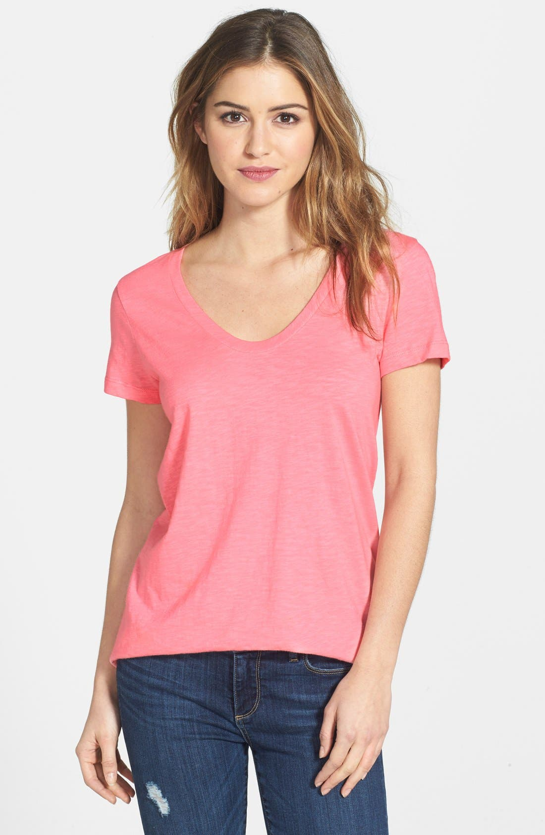 ,                             Relaxed Slub Knit U-Neck Tee,                             Main thumbnail 418, color,                             692