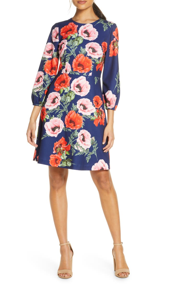ELIZA J Floral Blouson Sleeve Dress, Main, color, NAVY