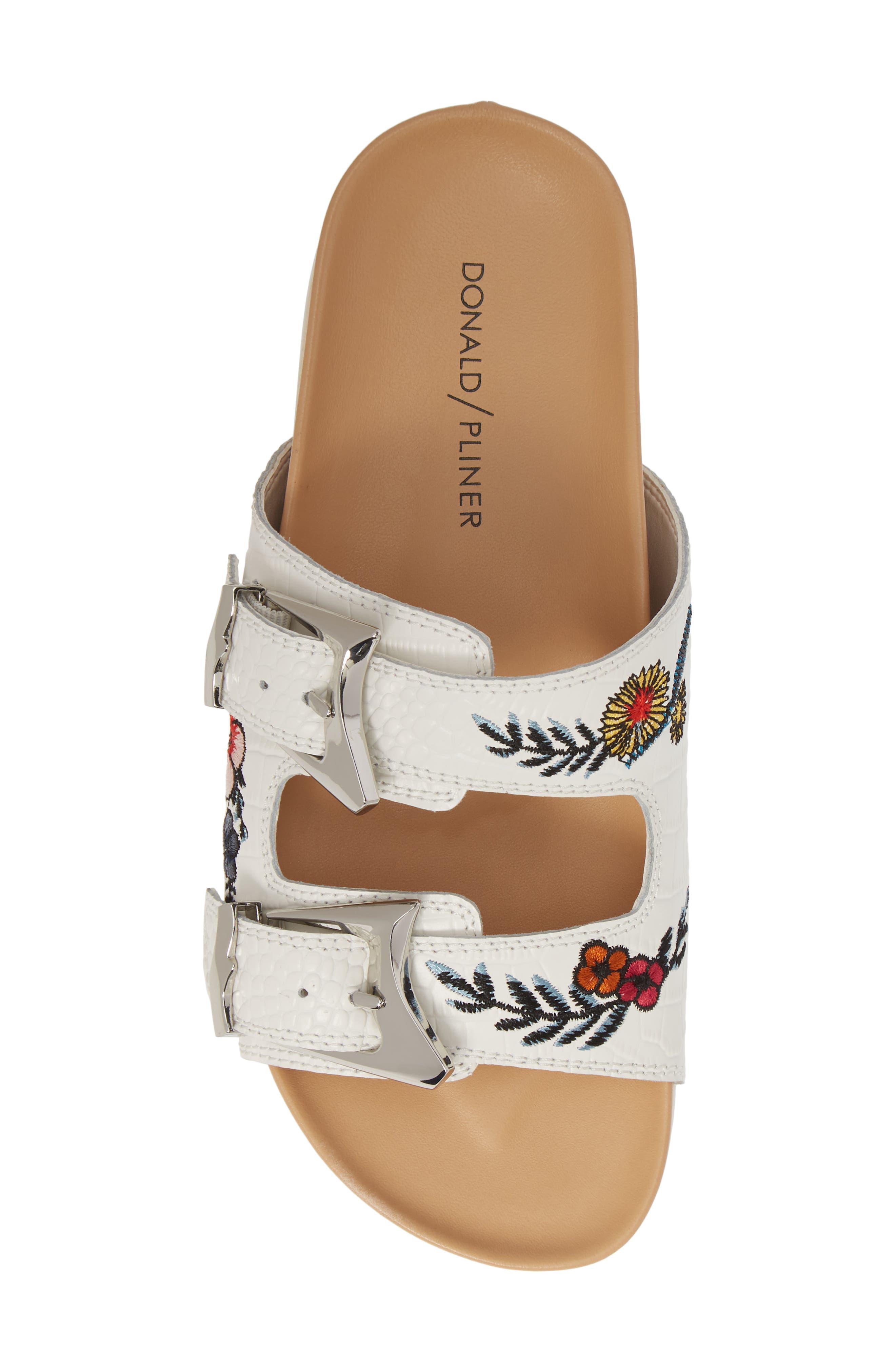 ,                             Baylie Embroidered Slide Sandal,                             Alternate thumbnail 5, color,                             WHITE